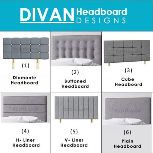 divan headboard - plain - liner - buttoned - diamond - vertical - horizontal - single - double - small double - king size - super king size - cheap - luxury - designer - modern - grey - blue - black - red - pink - grey - silver - champagne