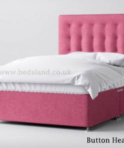 Pink chenille divan bed - button headboard - king size - double size - single - cheap divan bed