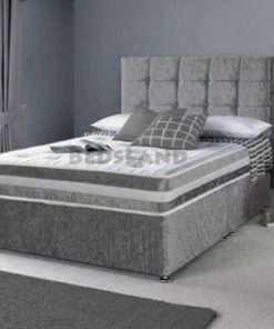 Double 4ft6 Silver Crushed Velvet Divan Bed Set-Drawers-Headboard-Mattress Options