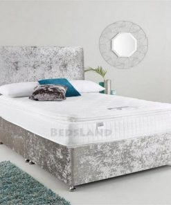 silver divan bed - crushed velvet - king size - double - single - storage - headboard - free delivery - cheap beds - best divan beds