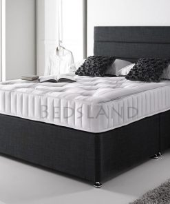 black chenille divan bed with drawers storage, headboard, mattress, - cheap beds