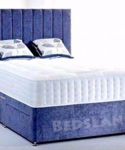 blue suede divan bed - double bed - single bed - king size bed - cheap bed - bed base - suede cheap bed - divan headboard - blue headboard - sale offer