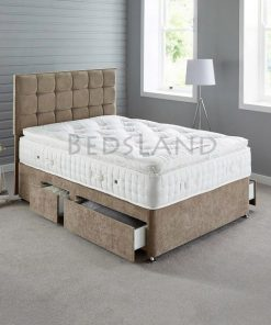 Brown chenille divan bed - single - double - king size - headboard - drawers - storage - base - wheels - cheap - divan - base - bed