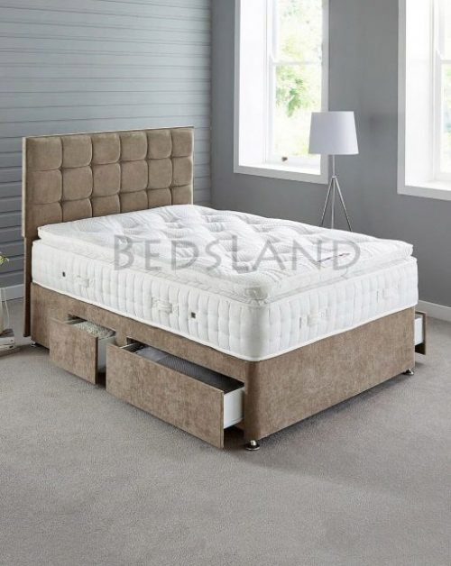 king divan bed and mattress, Brown chenille divan bed - single - double - king size - headboard - drawers - storage - base - wheels - cheap - divan - base - bed