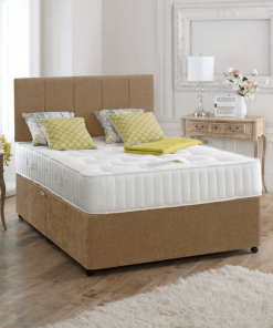 double divan bed with mattress, suede brown - divan beds - single bed - double bed - king size bed - luxury suede bed - divan bed base - divan headboard - cheap beds - discount sale on beds - high headboard - designer headboard - plain headboard