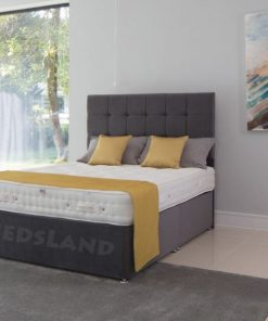 Suede Charcoal Divan Storage Bed With Headboard Mattress Drawers Base Cheap Single Double Small King Super Bed Options
