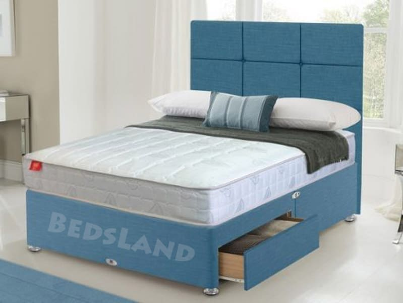 competitive price 3e784 321df Blue Chenille Fabric Divan Bed With Orthopedic Mattress & Headboard