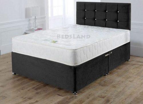 Black Suede Divan Bed
