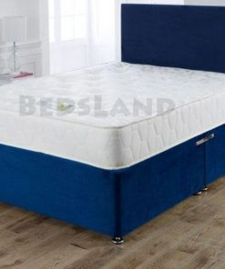 blue suede divan bed - double bed - single bed - king size bed - cheap bed - bed base - suede cheap bed - divan headboard - blue headboard - sale offer