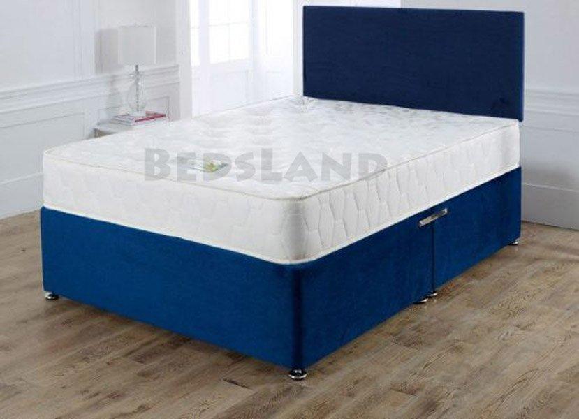 Blue Suede Divan Bed Designer Headboard Drawers