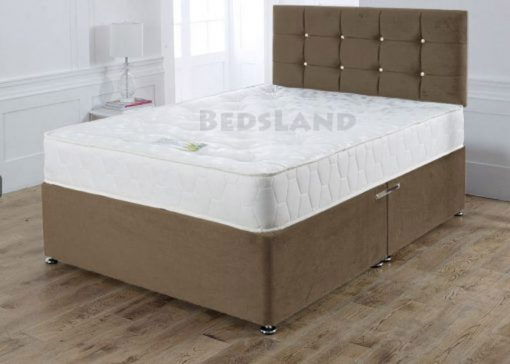 suede brown - divan beds - single bed - double bed - king size bed - luxury suede bed - divan bed base - divan headboard - cheap beds - discount sale on beds - high headboard - designer headboard - plain headboard