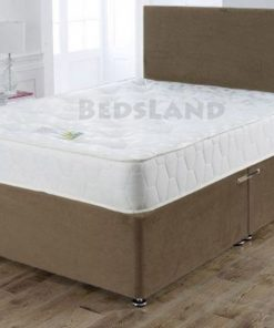 luxury brown suede divan bed with mattress and headboard