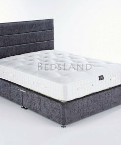 Slate Grey Chenille Storage Divan Bed With Headboard & Mattress