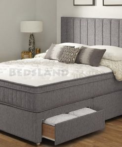 5ft King Size Divan Bed With Designer Headboard Storage Base and Mattress