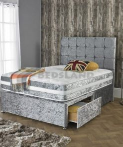 Silver Divan Bed - Storage Base - Headboard - Single - Double - King Size - Super King Size - Cheap Beds