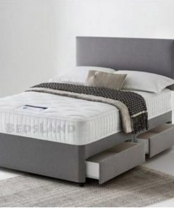grey suede double divan storage bed with headboard and mattress