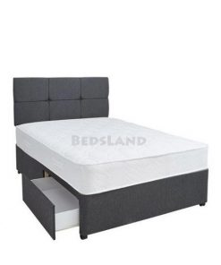 black suede designer divan bed with headboard and mattress