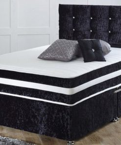 crushed velvet black bed -black crushed velvet bed