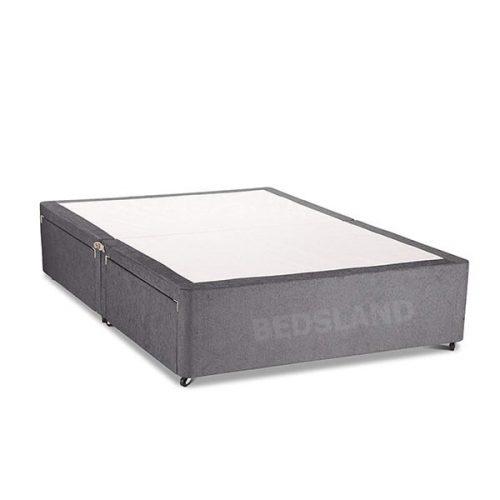 Grey divan base - divan base only - linen look divan bed base - single base - double - small double bed base - king size bed size - free delivery - mattress - headboard - no headboard - no mattress