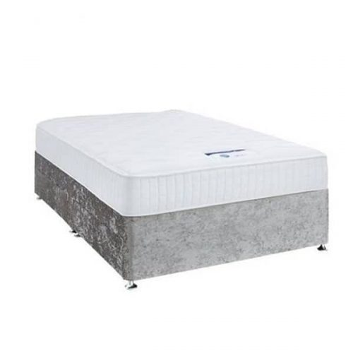 silver velvet divan base with drawers option - crushed velvet silver bed base