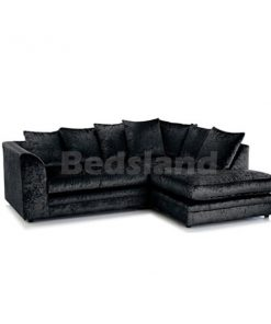 black - crushed velvet - corner sofa - left corner