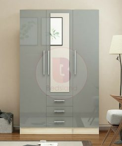 Grey Gloss High Wardrobe with 3 drawers and 3 doors for bedroom and living room furniture - grey high gloss 3 drawers mirrored wardrobe
