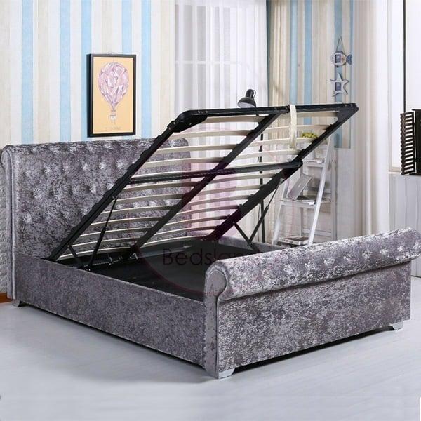 Surprising Chesterfield Double Crushed Velvet Ottoman Storage Bed Creativecarmelina Interior Chair Design Creativecarmelinacom