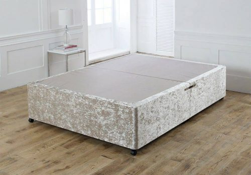 divan bed base double crushed velvet champagne divan base with drawers - no mattresses - no headboard