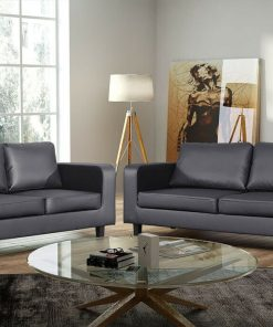 Leather Sofa Set, Black Leather Box Sofa Set