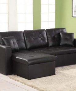 Black Faux Leather Miami Corner Sofa Beds