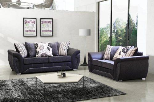 las vegas fabric sofa suite black and grey