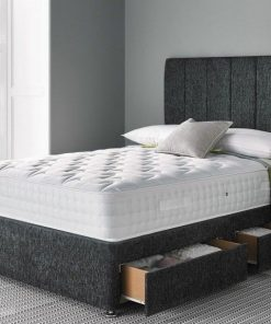 charcoal chenille bed with mattress