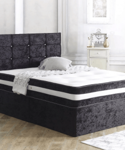 Black Crushed Velvet Bed